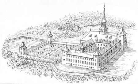 dessin de l'abbaye 1710
