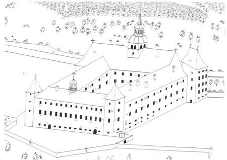 dessin abbaye 1710